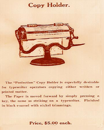 Perfection Copy Holder Advertisement